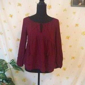 Extra Small Burgandy Old Navy Peasant Top